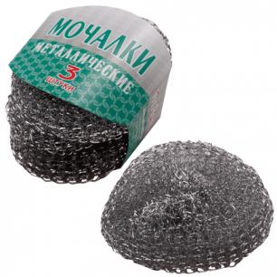 Губки (мочалки)  бытовые VITALUX, КОМПЛЕКТ 3шт., металлические сетчатые, ш/к 0585