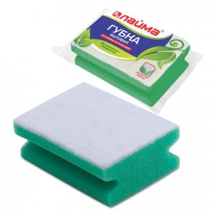 Губка бытовая для уборки ЛАЙМА чистящий слой д/деликат.поверхн., профильная, (в48*ш122*г86мм), 601556