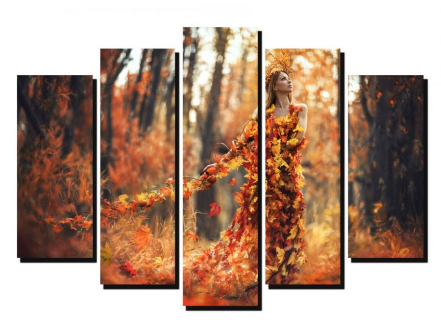 Модульная картина Девушка Осень