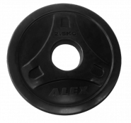 Диск обрезиненный черный, D 51, 2,5 кг P-ROB-2,5K-Alex