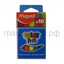"""Мелки школьные 10шт.""""White'peps"""" цветные формула """"без грязи"""" Maped 593501"""