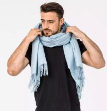 Роскошный большой плотный шарф, высокая плотность, 100 % драгоценный кашемир , расцветка Лунный Свет Moonlight Vintage Blue (премиум)
