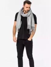 Роскошный большой плотный шарф, высокая плотность, 100 % драгоценный кашемир ,расцветка Классика Cерый  (премиум)
