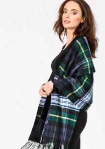 Роскошная классическая шотландская  шаль, высокая плотность, 100 % драгоценный кашемир ,  Тартан клана Гордон (премиум)