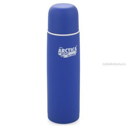 Купить Термос Арктика с узким горлом 103-750К (с кнопкой, резиновым напылением синий, 750 мл)