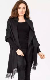 Роскошная классическая шотландская  шаль, высокая плотность, 100 % драгоценный кашемир , расцветка Классика Чёрный Black Cashmere (премиум)