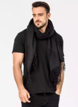 Роскошный большой плотный шарф, высокая плотность, 100 % драгоценный кашемир , расцветка Классика Чёрный Black Cashmere (премиум)