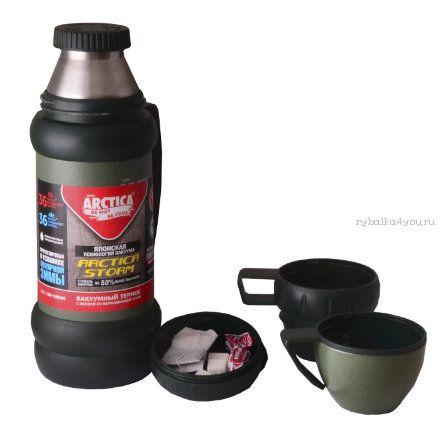 Купить Термос Арктика с узким горлом 109-1000М зелёный (с доп. чашкой и контейн. для чая, 1000 мл)