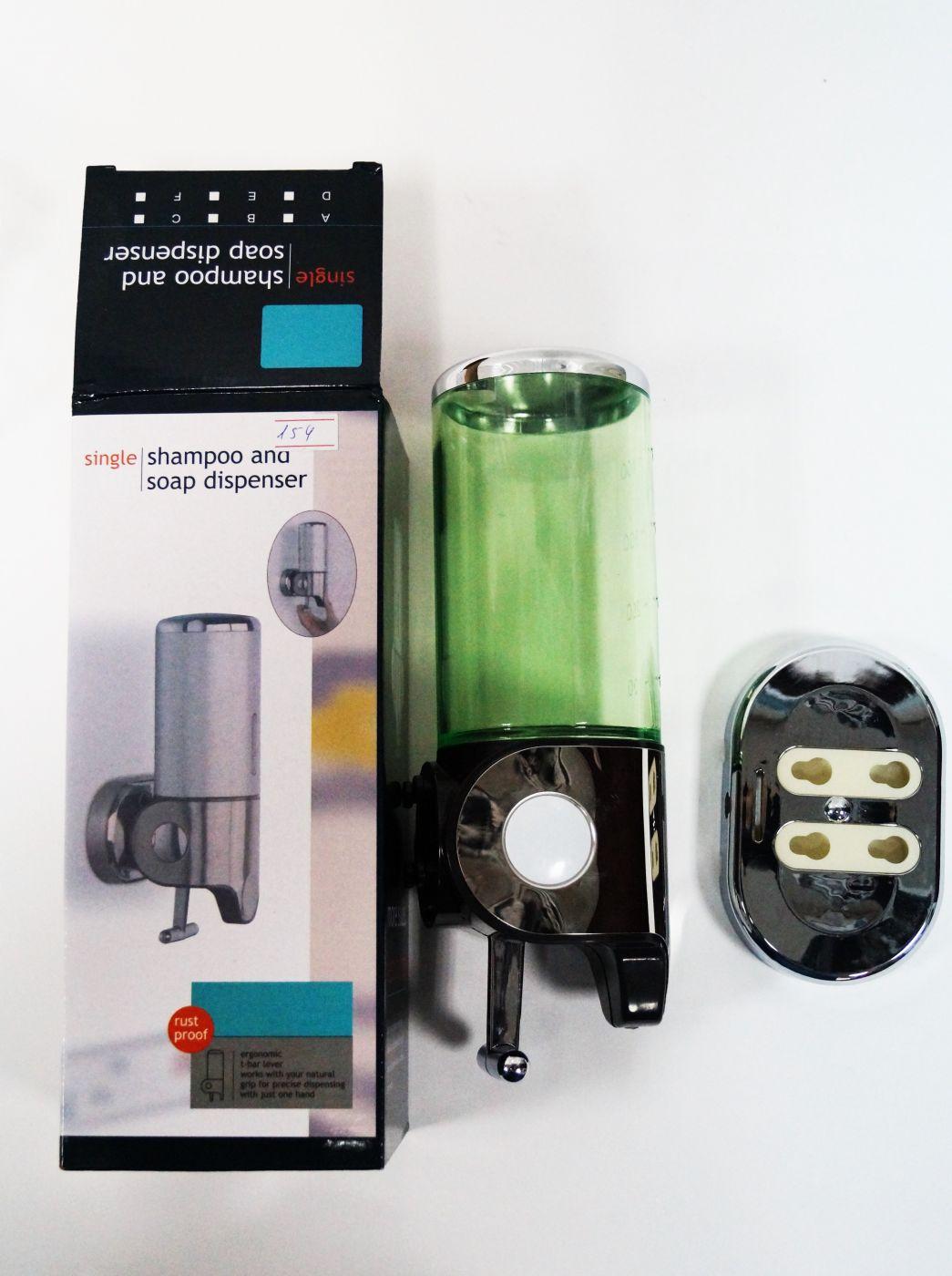 Дозатор для мыла/шампуня, с зеленой вставкой 154