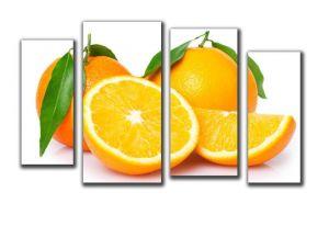 Модульная картина Апельсины на белом фоне