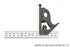 Угольник столярный Starrett 11MH-150 150 мм с подвижной подошвой уровнем и чертилкой М00008463