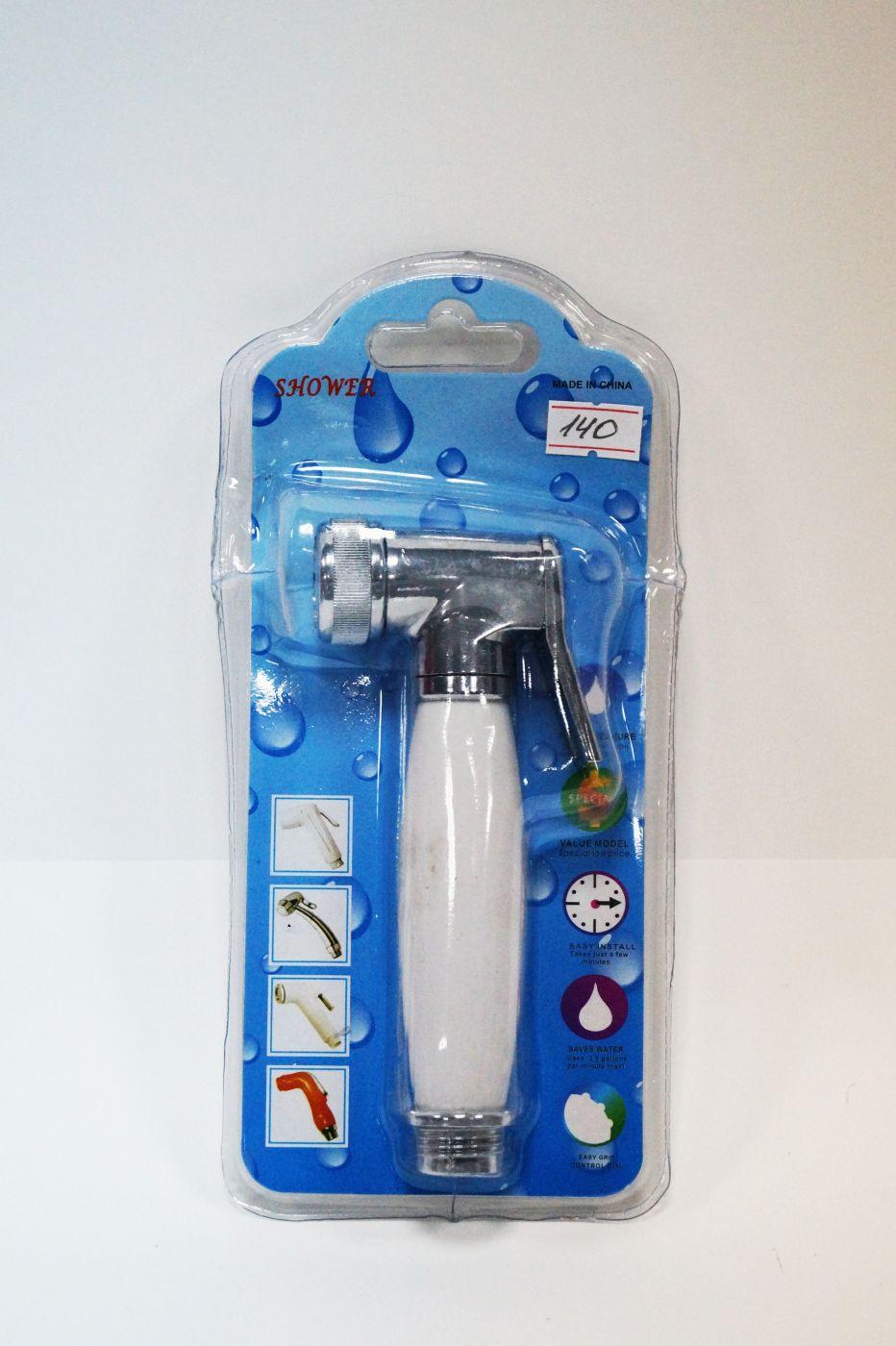Гигиенический душ, хромированная лейка с белой керамической ручкой 140