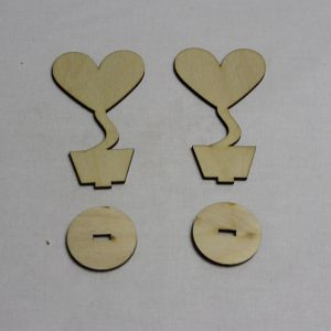 """Заготовка для топиария """"Сердце с подставкой"""" высота 10 см, фанера 3 мм (1уп = 10шт)"""