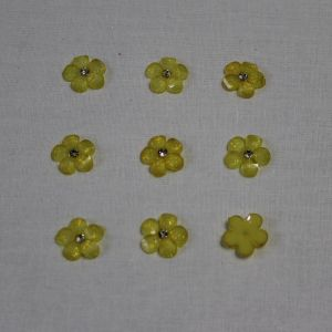 """Кабошон со стразой """"Цветок"""" 16 мм, цвет желтый (1уп = 50шт)"""