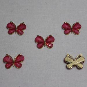 "Кабошон ""Бабочка"", металл, размер 22*28 мм, цвет ярко-розовый (1уп = 10шт)"