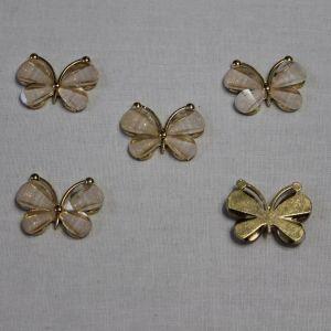 """Кабошон """"Бабочка"""", металл, размер 22*28 мм, цвет белый (1уп = 10шт)"""