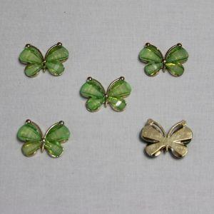 "Кабошон ""Бабочка"", металл, размер 22*28 мм, цвет зеленый (1уп = 10шт)"
