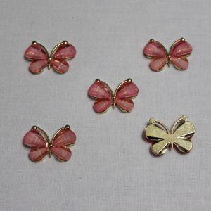 "Кабошон ""Бабочка"", металл, размер 22*28 мм, цвет светло-розовый (1уп = 10шт)"