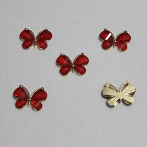 "Кабошон ""Бабочка"", металл, размер 22*28 мм, цвет красный (1уп = 10шт)"