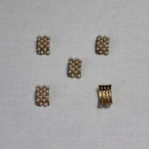 Кабошон со стразами, металл, цвет основы - золото, 16*10 мм (1уп = 10шт)