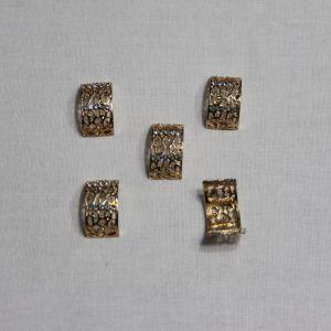 Кабошон со стразами, металл, цвет основы - золото, 20*11 мм (1уп = 10шт)