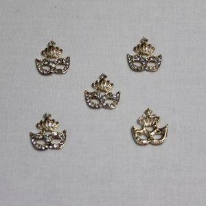 """Кабошон со стразами """"Маска"""", металл, цвет основы - золото, 22*20 мм (1уп = 10шт)"""