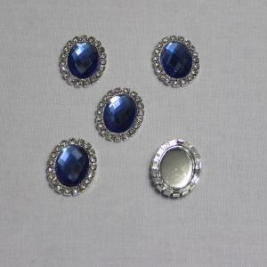 Кабошон со стразами, овал, цвет основы - серебро, стразы - синий, 23*18 мм (1уп = 10шт)