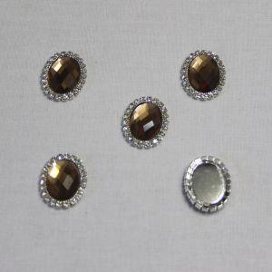Кабошон со стразами, овал, цвет основы - серебро, стразы - коричневый, 23*18 мм (1уп = 10шт)