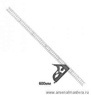 Угольник столярный Starrett 11MH-600 600 мм с подвижной подошвой, уровнем и чертилкой М00008464
