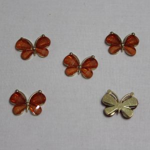 "`Кабошон ""Бабочка"", металл, размер 22*28 мм, цвет оранжевый"