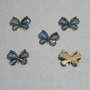 "`Кабошон ""Бабочка"", металл, размер 22*28 мм, цвет голубой"
