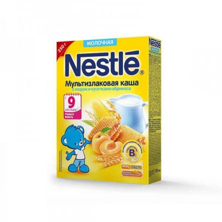 Каша молочная Nestle мультизлаковая с медом и кусочками абрикоса 250 г
