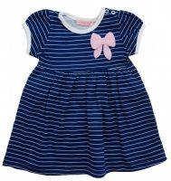 Платье для девочки синее в белую полоску с розовым бантиком