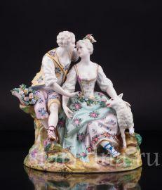 Пара с цветами и овечкой, Samson, Франция, кон. 19, нач. 20 века