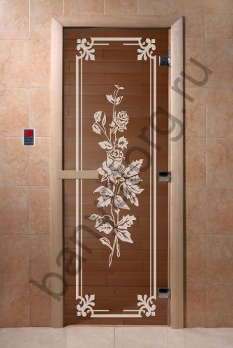 Дверь для бани DoorWood Розы Бронза