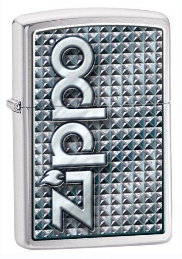 Зажигалка ZIPPO Classic с покрытием Brushed Chrome, латунь/сталь, серебристая с надписью Zippo на фронтальной стороне, матовая, 28280