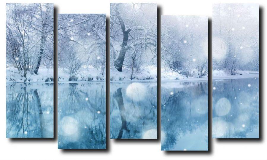Модульная картина Природа. Зима. Озеро