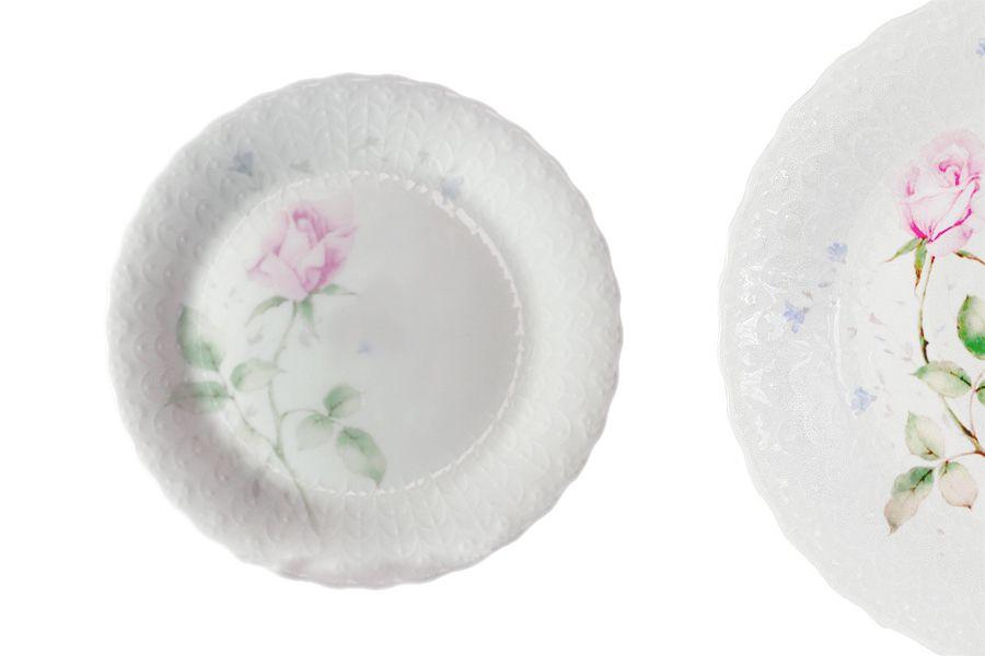 """Набор из 6 тарелок """"Апрельская роза"""", 23 см"""
