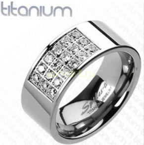 Стильное титановое кольцо с фианитами Spikes (арт. 280139)