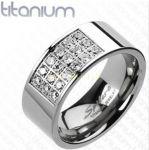 Стильное титановое кольцо с фианитами Spikes