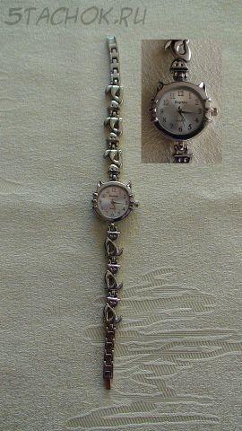 """Часы женские """"Кошка"""" серебро светлые (на браслете)"""