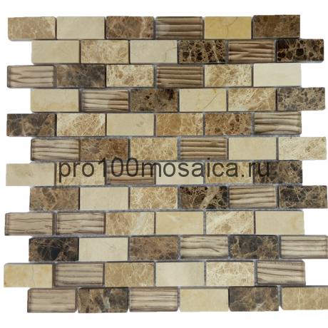 Astoria Brown. Мозаика серия GlassStone, размер, мм: 300*300*8 (ORRO Mosaic)