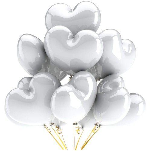 Гелиевый шар белое сердце