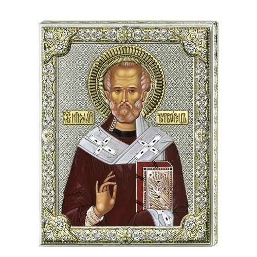 Серебряная икона Святой Николай (листовое серебро, писаные одежды, Италия)