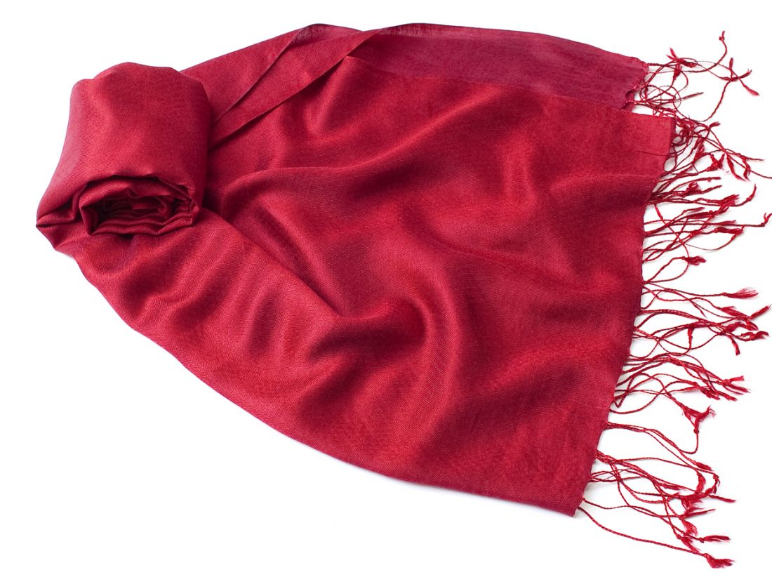 Шёлк + шерсть, малиновый шарф-палантин (Москва)