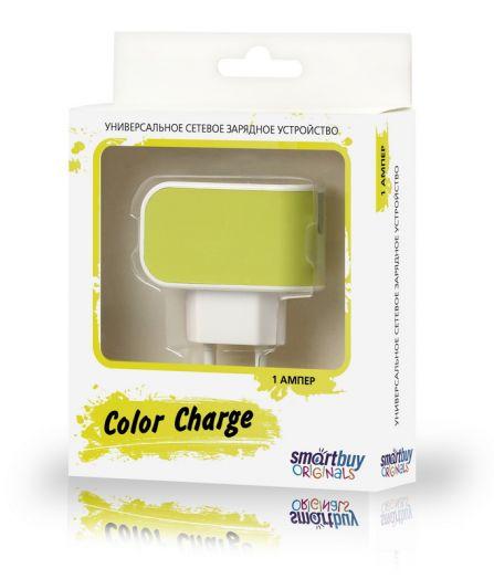 Вилка USB SmartBuy COLOR CHARGE, 2А, универсальное, 1хUSB, желтое