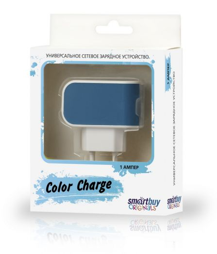 Вилка USB SmartBuy COLOR CHARGE, 2А, универсальное, 1хUSB, синее