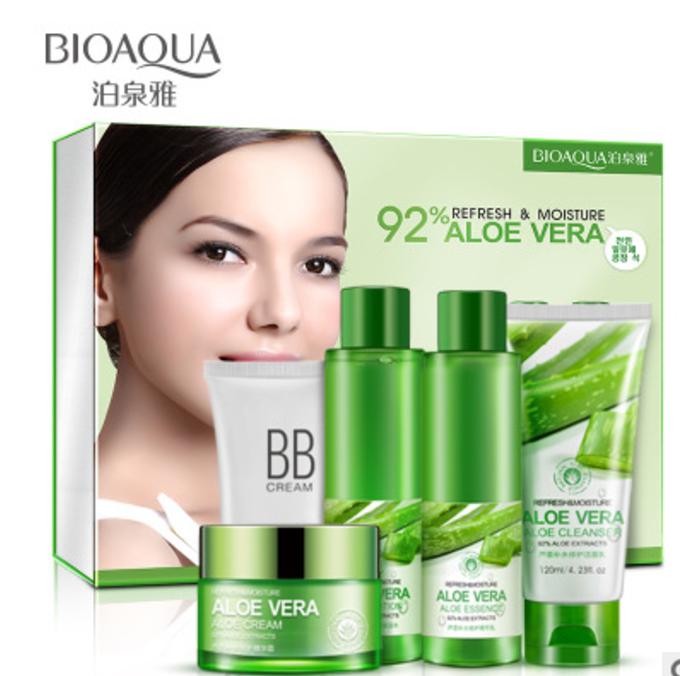 АКЦИЯ! Набор из 5 увлажняющих средств для лица с экстрактом алоэ в подарочной коробке Bioaqua