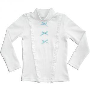 Блузка из хлопкового трикотажа белого цвета для девочки