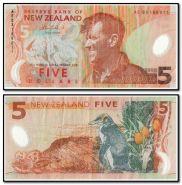 Новая Зеландия 5 долларов 2009 год. Полимер